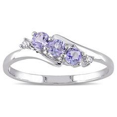 Miadora 10k White Gold Tanzanite and Diamond Accent Three-Stone Ring