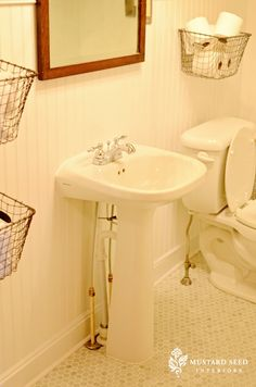 French chair makeover & updates - Miss Mustard Seed Kids Bathroom Storage, Bathroom Kids, Budget Bathroom, Remodel Bathroom, Metal Wall Basket, Baskets On Wall, Storage Baskets, Metal Baskets, Hanging Baskets