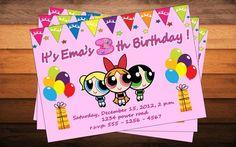 Powerpuff Girls Birthday Party Invitation - Printable, DIY | yellowbirdesign - Digital Art  on ArtFire