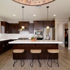(paid link) kitchen with dark wood cabinets with dark wood appliances Cherry Wood Kitchen Cabinets, Cherry Wood Kitchens, Kitchen Cabinets Decor, Farmhouse Kitchen Decor, Kitchen Flooring, Kitchen Dining, Kitchen Ideas, Kitchen Island, Granite Kitchen