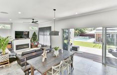 This stunning home now boasts a completely new kitchen, dining, living space which seamlessly integrates with the outdoor entertaining area. New Kitchen, Kitchen Dining, Open Plan Living, Outdoor Entertaining, Open Concept, Home Renovation, Dining Area, Living Spaces, Style Inspiration