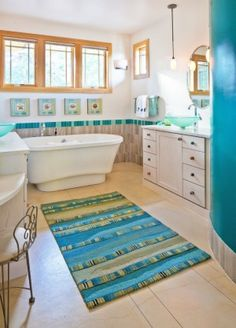 """Great Pops of Color in this """"Blueautiful"""" Bathroom!"""
