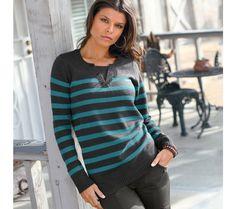 Proužkatý pulovr s tuniským výstřihem | vyprodej-slevy.cz #vyprodejslevy #vyprodejslecycz #vyprodejslevy_cz #sweater #svetr