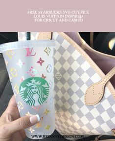 Full Louis Vuitton Inspired Starbucks SVG Cut File for Cameo and Cricut Personalized Starbucks Cup, Custom Starbucks Cup, Starbucks Tumbler, Starbucks Drinks, Personalized Cups, Starbucks Venti, Starbucks Cup Design, Louis Vuitton Pattern, Disney Cups