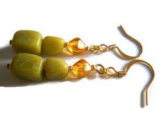 Dangle Earrings African Jade Earrings Jade Green by chicagolandia, $15.00