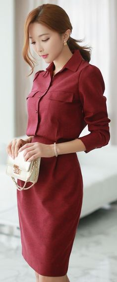 StyleOnme_Button-down Collared Shirt Dress #fallcolor #red #wine #autumn #dailylook #chic #koreanfashion #seoul #style