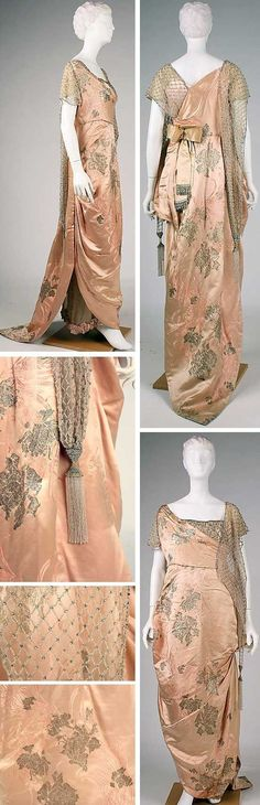 Evening dress, House of Worth, Silk. Metropolitan Museum of Art Women's vintage antique fashion history historical clothing 1900s Fashion, Edwardian Fashion, Vintage Fashion, Gothic Fashion, Vintage Beauty, Moda Fashion, Trendy Fashion, Fashion Art, Fashion Design