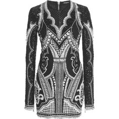 Balmain Beaded Net Mini Dress (€8.880) ❤ liked on Polyvore featuring dresses, black, netted dress, balmain dress, short beaded cocktail dresses, beaded mini dress and short dresses