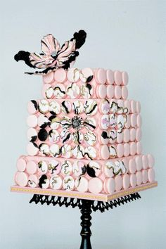 Pink French Macaron cake by Cake Opera Co.