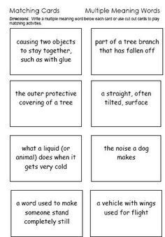 Multiple Meaning Words Charts (Homonyms and Homographs) | Multiple ...