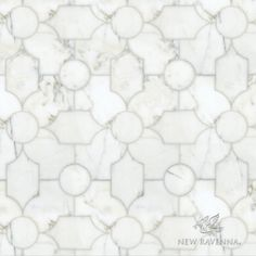 Chatham 1, a waterjet stone, shown in polished Thassos and honed Carrara, is part of the Silk Road Collection by Sara Baldwin for New Ravenna Mosaics. <br /> <br /> Take the next step: prices, samples and design help, http://www.newravenna.com/showrooms/