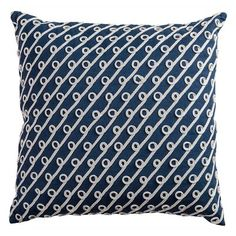 Navy and White Rope Decorative Pillow - Navy (20