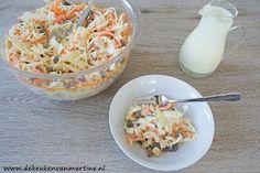De keuken van Martine: Salade van witte kool, wortel, rozijnen en cashewn... Pasta Salad, Low Carb Recipes, Potato Salad, Tapas, Cabbage, Paleo, Food And Drink, Dinner, Vegetables