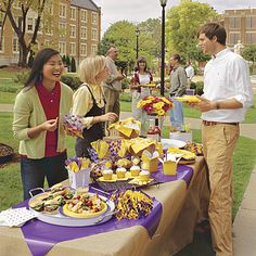 well dressed buffet table in your school colors