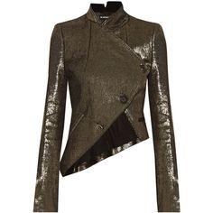 Ann DemeulemeesterAsymmetric Metallic Linen-blend Jacket (€1.615) ❤ liked on Polyvore featuring outerwear, jackets, gold, asymmetrical jacket, ann demeulemeester, ann demeulemeester jacket, metallic jacket and brown jacket