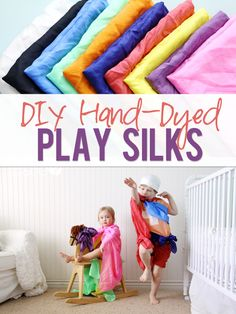 Hand Dyed Play Silks. The kids love these!! Learn how to hand dye your own today at howdoesshe.com #playsilks #dressup