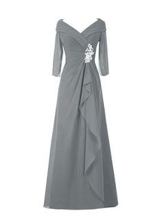 elegante media v - cuello mangas una línea de palabra de longitud madre del vestido de la novia