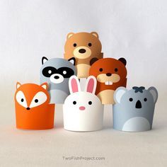 Pretend Play Toys for Kids, Paper Craft Animals, DIY Forest Animals Playset, Woodland Creatures, Printable Paper Puppets/Toys Dollhouse PDF Animal Crafts For Kids, Summer Crafts For Kids, Paper Crafts For Kids, Preschool Crafts, Paper Puppets, Paper Toys, Rabbit Crafts, Plastic Bottle Art, Christian Crafts
