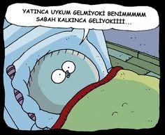 Yatınca uykum gelmiyoki benimmmmm sabah kalkınca geliyokiiii...   #karikatür #mizah #matrak #komik #espri #şaka  #gırgır #komiksözler #fırat  Hahahahayyy Funny Comics, Wattpad, Family Guy, Words, Lol, Sign, Fictional Characters, Instagram, Google
