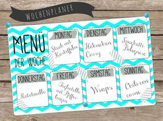 Essensplan/Menüplan/Wochenplan zum Downloaden in zwei verschiedenen Designs