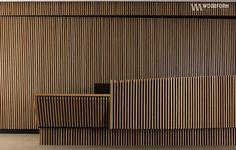inspirational interior vertical wall. American white oak timber linear screening.:
