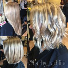 Long to short hair transformation. Long bob with beachy curls and Dimensional blonde balayage hair color. Hair by Rachel Fife @ SF Salon
