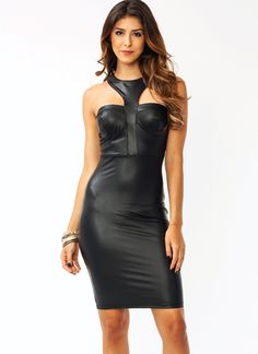 Y-Not Faux Leather Dress