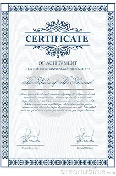 certificate template with guilloche elements blue diploma border design for personal conferment vector layout