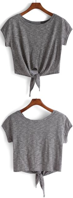 Grey Knotted Crop T-Shirt. Casual loose tee for school. Super soft cotton tee for travel. Also cool street style with a kinimo. Classic crop kontted top in grey. Only need US$9.79.