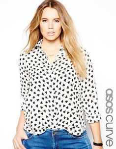 Asos CURVE Exclusive Shirt In Heart Print on shopstyle.com