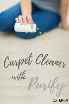 DIY Carpet Cleaner: Put equal parts of Borax, and Baking Soda together and mix in 10 drops of Purify essential oil. Sprinkle over your carpet, allow it to sit for 15 minutes, then vacuum it up! Enjoy lovely scented floors.