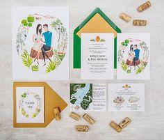 Custom Wedding Stationery // Illustrated wedding invitation, map, thank you card // Around the World