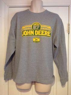 John-Deere-Gray-Long-Sleeve-Thermal-Logo-Shirt-Mens-Size-XXL
