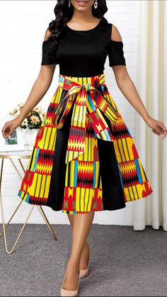 African Fashion Cold Shoulder Tie Front Geometric Print Dress - African Fashion Cold Shoulder Tie Front Geometric Print Dress Party Dresses For Women Cold Shoulder Tie Front Geometric Print Dress Source by fashionr. Best African Dresses, Latest African Fashion Dresses, African Print Fashion, Women's Fashion Dresses, African Women Fashion, Latest Dress, Korean Fashion, Frack, Classy Dress