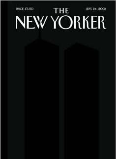 """The New Yorker (24 Sept., 2001) The famous black cover of the magazine """"The New Yorker"""", with barely noticeable two black rectangles, embody the tragedy of September 11. Antenna north tower splits the letter W in the logo magazine."""