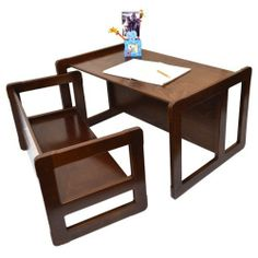 3 in 1 Children's Multifunctional Furniture Set of One Multifunctional Table and One Multifunctional Bench or Adult's Multifunctional Nest of Two Coffee Tables, Solid Beech Wood Dark Varnish by Obique, http://www.amazon.co.uk/dp/B00II082YK/ref=cm_sw_r_pi_dp_aWUitb0RZA1FY