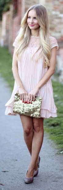 Blush Pleated Dress