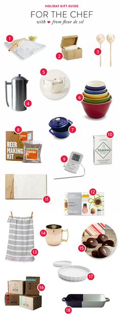 Gift Guide: For the Chef  Read more - http://www.stylemepretty.com/living/2013/12/10/gift-guide-for-the-chef/
