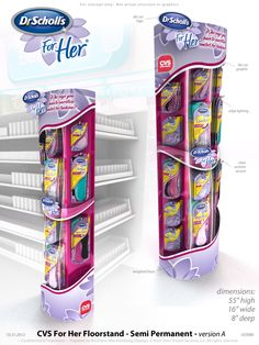 Retail Point of Purchase Design | POP Design | Health  Beauty POP Display | Dr Scholl's For Her / CVS Side Tower by Jeff Gramm at Coroflot.com