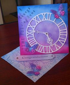 Twisted easel card made using die cutting, embossing and stamps