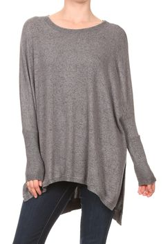 Tiger Brushed Oversized Tunic - charcoal