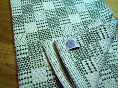 Torchon coton tissé à la main vert et naturel par FrederickAvenue