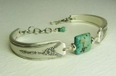 Silver Spoon Bracelet, Milady 1940, with African Turquoise, Silverware Jewelry