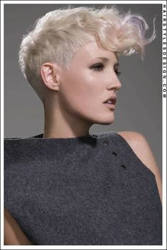 Short Hairstyles - Closely Cropped Pixie with Long Curly Fringe