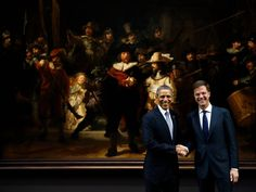 Barack Obama meets president Mark Rutte in the Rijks museum, Amsterdam, Netherlands March 24th 2014