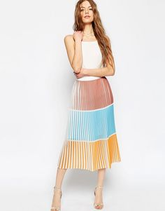 Image 1 of ASOS Pleated Column Skirt in Color Block