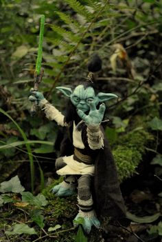 Yoda , young Jedi knight  handmade Ooak posable figure Star wars inspired by…