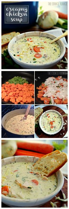 ) Creamy Chicken Soup---the absolute BEST soup on the planet! {The Cookie Rookie}Creamy Chicken Soup---the absolute BEST soup on the planet! {The Cookie Rookie} I Love Food, Good Food, Yummy Food, Cooking Recipes, Healthy Recipes, Healthy Soup, Milk Recipes, Cooking Tips, Healthy Eating