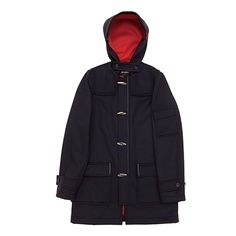 Raf Simons Duffle Coat EUR 1.618,00 Specifications - Material: 56% cashmere 44% polyester. Lining material: 50% viscose 50% cupro. Made in Italy. Measurements (size 48): Chest: 55 cm. Length: 91 cm.  Dark navy cashmere blend duffle coat featuring a contrast perforated red lining and white stitc detailing. Two front flap pockets and one flap pocket on the upper left arm. Button detailing by sleeves. Extra flap and button detail by collar.