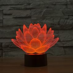 45.00$  Watch now - http://alibct.worldwells.pw/go.php?t=32626110291 - Free shipping Amazing 3D Night Lights Lotus Flower shape Home  Decoration